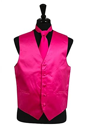 Classy Men's Hot Pink Vest, Tie and Hanky 3 Piece Set (XS)