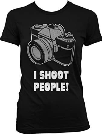 I Shoot People Girls T-shirt, Funny Girls Shirts, Small, Black