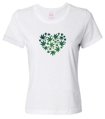 I Love Marijuana, Cannabis Leaf Heart Women's T-shirt