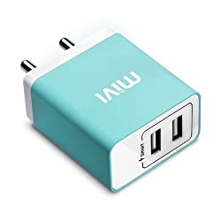 Mivi Smart Charge 3.1A Dual port Wall USB Charger with Auto ­Detect Technology for Apple iPhone, iPad, Samsung Galaxy, Lenovo, OnePlus, Xiomi MI, HTC, LG, Nexus, Motorola Moto G, ASUS, Coolpad, Sony, Micromax, Honor, Intex, Meizu, Karbonn and all other mobile devices and Tablets, Bluetooth Speakers, Power Banks, Cameras and More (Blue)