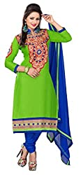 Green Color Cotton Embroidered Straight Salwar Suit Unstitched Dress Materials