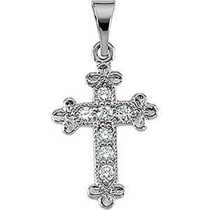IceCarats Designer Jewelry 14K White Gold Cross Pendant W/Diamond 14.00X10.00 Mm