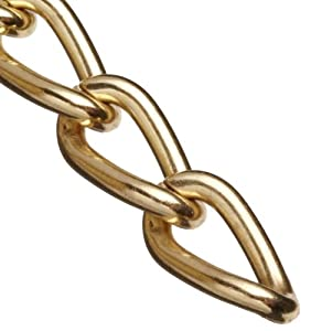"""Campbell 0712017 Hobby and Craft Twist Chain, Brass Plated, #200 Trade, 0.079"""" Diameter, 12 lbs Load Capacity, 49 Feet Mini Reel"""
