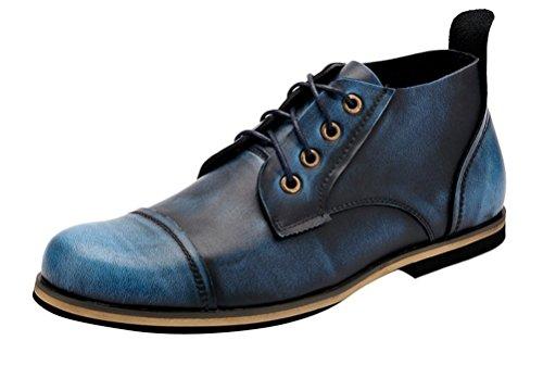 Brinny Fashion Classique Unisexe Vernis Bottes En Cuir Véritable Rétro Vintage Homme Martin Bottes Grand Taille Bleu / Win Rouge / Jaune&Brun 10 Tailles