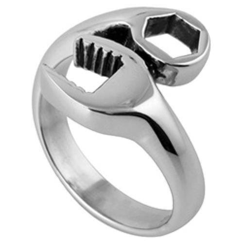 New Men's Stainless Steel Biker Motorcycle Mechanic Wrench Tool Ring - Size 10