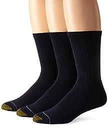 Gold Toe Men's Uptown Crew 3 Pack Socks, Navy, Sock Size 10-13/Shoe Size 6-12.5