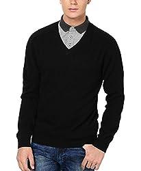 Super Weston Plain Black Sweater For Winters (Black, 42)