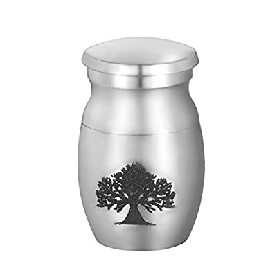VALYRIA Pet Memorials Silver Tone Stainless Steel Small Pet Cremation Urn