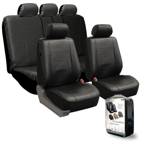 FH-PU005115 Exquisite Leather Car Seat Covers, Airbag compatible and Rear Split Black Color
