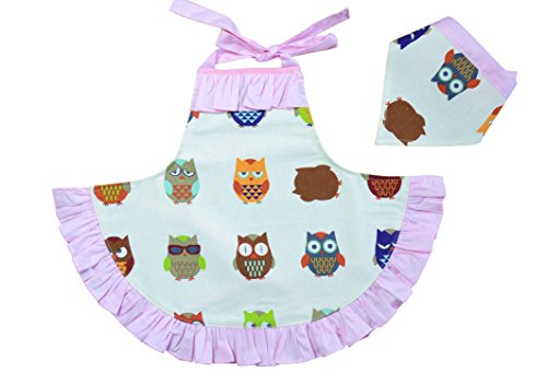 CRB Fashion Girls For Toddler Kids Owl Cooking Baking Headscarf Apron 2 Piece Set (Style #1, 4T to 5T)