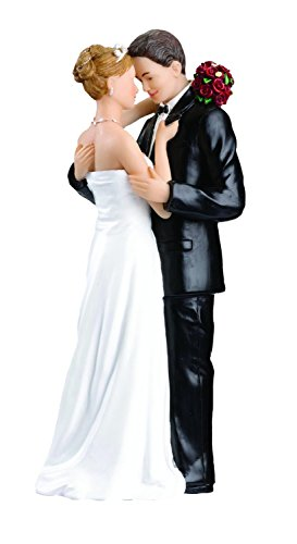 Wonderful Bride and Groom Tender Moment Wedding Couple Cake Topper