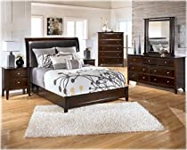 Hot Sale Ashley Templenz Queen Sleigh Bedroom Set in dark sable finish