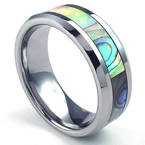 MENDINO 8 mm Titanio Acciaio al tungsteno lucidato Abalone e grigio verdastro Colore: Blu bordo Unisex Wedding Band Ring, tungsteno, 24,5, cod. JRG0103GN-7