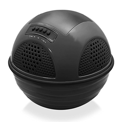 Floating Bluetooth Waterproof Pool Speaker System With Rechargeable Battery, Fm Radio, Micro Sd Memory Card Reader, Black