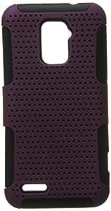 Eagle Cell Progressive Hybrid Gummy Mesh Defense Case for ZTE N9510 Warp 4G - Retail Packaging - Black/Purple