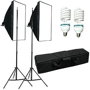 """1250W Softbox continu studio kit d'éclairage pour studio photo--20""""x28""""(50x70cm) soft box boite à lumiere kit, E27 Ampoule lumière du jour,support stand réglable,avec sac pour tout transporter"""