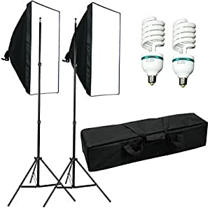 1250W 5500K Softbox continu studio , kit d'éclairage pour studio photo professionnel avec Monture Universelle - 2* SoftBox 50x70cm + 2* support éclairage réglable + 2* ampoule 625w + sac oxford, Appareil photographique , Photo Video Studio