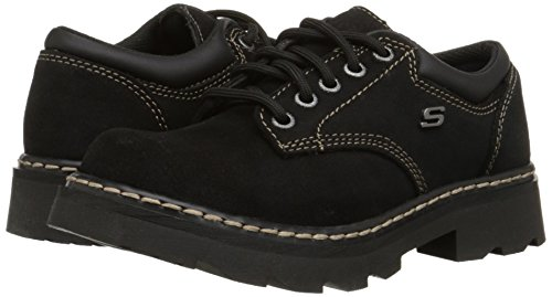 Skechers Women's Parties-Mate Oxford,Black Suede Leather,9 M US