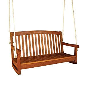 """Royal Tahiti 48"""" Wooden Two Seater Swing (Stain) (25H x 48W x 25D)"""