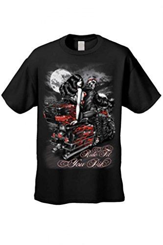 Men's/Unisex Ride Til You Die BIker Style Short Sleeve T-Shirt BLACK (Large)