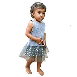 Aummade Baby Girl's tulle bi fabric dress, grey stars, 12-18 months