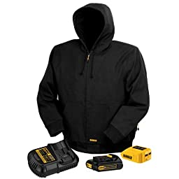 DEWALT DCHJ061C1-L 20V/12V MAX Black Hooded Heated Jacket Kit, Large
