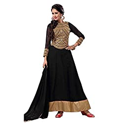Parabdhani Fashion Women's Georgette Semi Stitched Suit (PBF_DM_82_Black_Free Size)