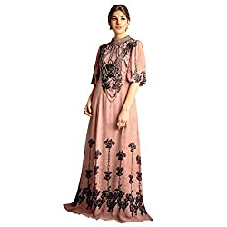 Bhelpuri Women Peach Bamberg Georgette Dress Material