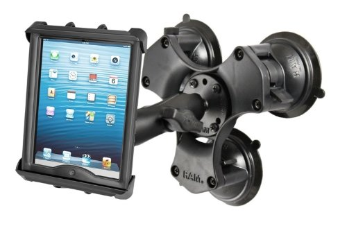 "Triple Suction Cup Mount w/ Clamping Cradle for Apple iPad 1 2 3 4 & 10"" Tablets"