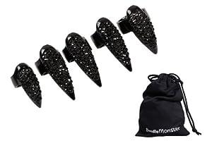 Bundle Monster 5pc Women Girls Retro Cool Fashion Popular Finger Nail Ring Punk - Black Rhinestone Claw Design - Set 2