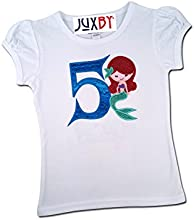 Juxby Little Girl Mermaid Number on Girl39s White Puff Sleeve Top