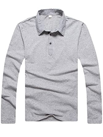 SZ Mens Casual Business Amazing Slim Polo Collar Shirt T-shirts Long Sleeve