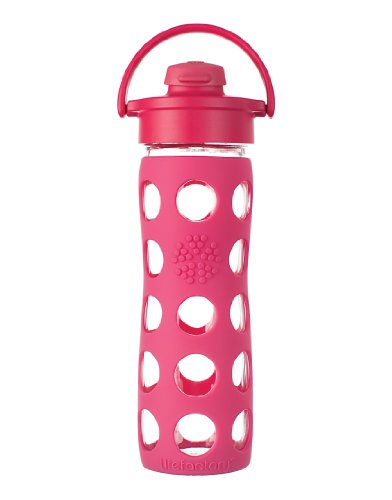 Lifefactory 16-Ounce Glass Beverage Bottle with Flip Top Cap, Raspberry