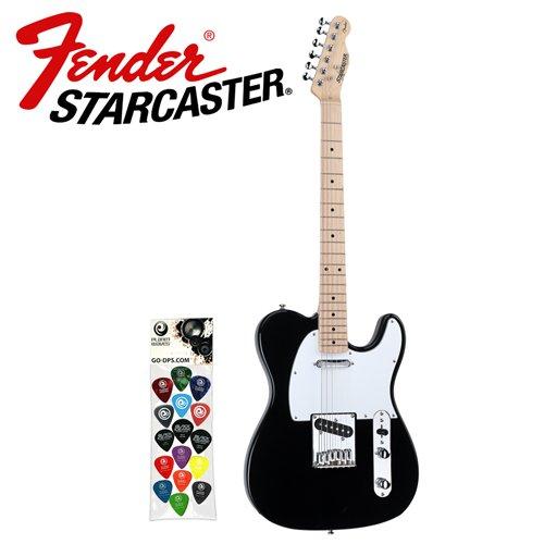 Fender SC-TELE-KIT-01 Starcaster Black Telecaster Electric Guitar with Planet Waves/GO-DPS 16-Pick Sampler Pack (PW-SAMPLER)