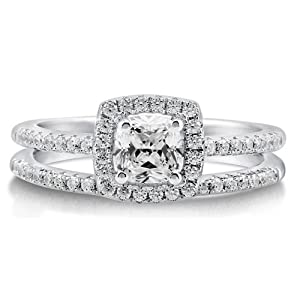 Cushion Cubic Zirconia Sterling Silver 2Pc Halo Bridal Ring Set .46 ct - Nickel Free Engagement Wedding Ring Set Size 5