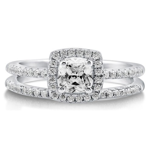 Cushion Cubic Zirconia Sterling Silver 2Pc Halo Bridal Ring Set .46 ct &#8211; Nickel Free Valentine Gift Ring Set Size 7