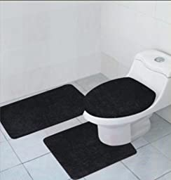 3 Piece Bathroom Rug, Contour Rug and Lid Cover Set, Hailey Rug Set (Black)