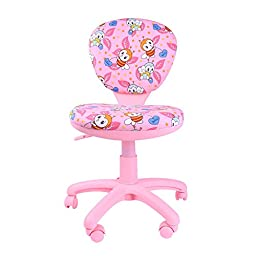 Emall Life 360 Ergonomic Adjustable Swivel Chair Mid-back Armless Fabric Task/Office/Computer/Desk Chair, Blue (Pink)