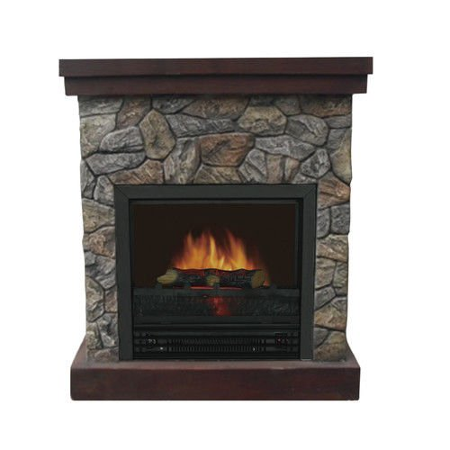 New Home & Garden Brown Wooden Electric Fireplace W Programmable Thermostat