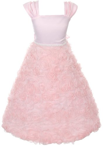 Satin Bodice Full Rosette Skirt Communion Flower Girl Pageant Dress - Pink 6