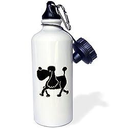 3dRose wb_195229_1 Funny Black Poodle Art Sports Water Bottle, 21 oz, White