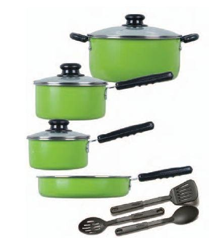 Gibson Colorsplash Merville 10-Piece Cookware Set. Green