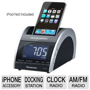 panasonic ipod iphone docking and charging station features clock with am fm radio. Black Bedroom Furniture Sets. Home Design Ideas