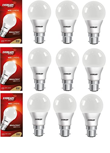 9W B22D LED Bulb (Pack of 9)