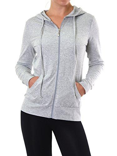 Teejoy Women's Thin Cotton Zip Up Hoodie Jacket (M, Heather Gray) (Alternative Zip Up Hoodie compare prices)