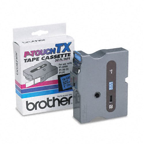 Brother P-Touch Products - Brother P-Touch - TX Tape Cartridge for PT-8000, PT-PC, PT-30/35, 1w, Black on Blue - Sold As 1 Each - Ideal for high-production label making, with fewer re-supply situations. - Perfect for indoor and outdoor use on smooth, flat
