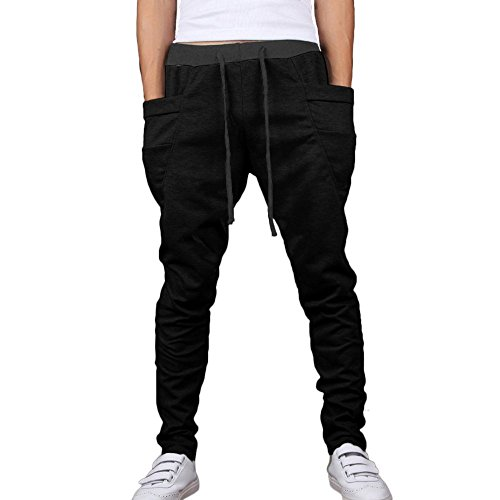 Minetom Jogging pantaloni tuta fondo pantaloni allenamento Running Release Pantaloni da Jogging da Uomo ( Nero EU M )