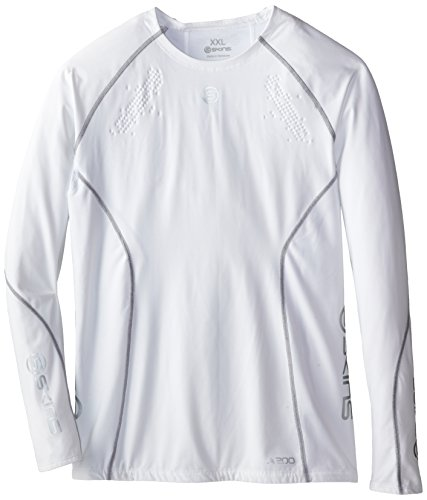 SKINS Men's A200 Long Sleeve Top, White, XX-Large