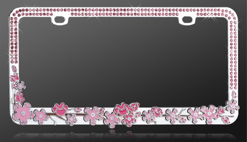license plate frame metal bling pink cherry blossom tree pink crystals