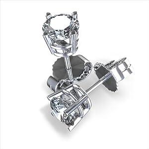 Diamond Impressions DI2002329 Certified 4 Ct. 14k White Gold Round Brilliant Diamond Stud Earrings H-I VVS1